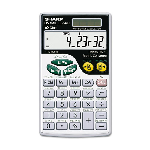 Sharp® EL344RB Metric Conversion Wallet Calculator, 10-Digit LCD