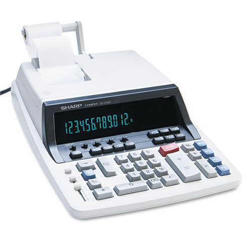Sharp qs-2760h two-color ribbon printing calculator, black/red.