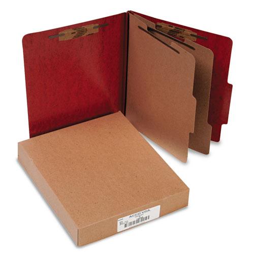 20 pt. PRESSTEX Classification Folders, 2 Dividers, Letter Size, Red, 10/Box