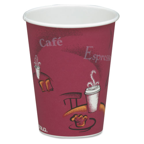 Solo Bistro Design Hot Drink Cups, Paper, 8oz, Maroon, 50/Bag, 20 Bags/Carton | by Plexsupply
