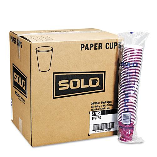 Bistro Design Hot Drink Cups, Paper, 12oz, Maroon, 50/Bag, 20 Bags/Carton 412SIN