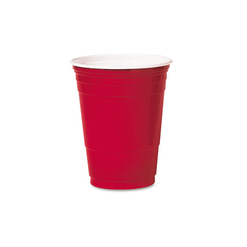 Plastic Party Cold Cups, 16oz, Red, 50/Bag, 20 Bags/Carton P16R