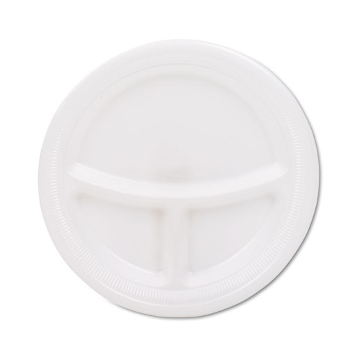 "Mediumweight Foam Plates, 9"" dia, White, 125/Pack | by Plexsupply"