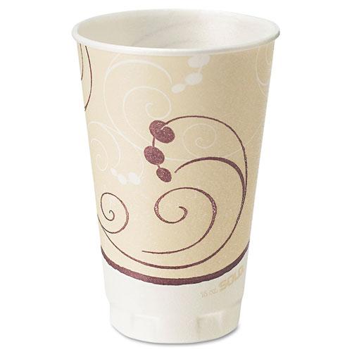 Dart® Symphony Design Trophy Foam Hot/Cold Drink Cups, 20oz, Beige, 750/Carton