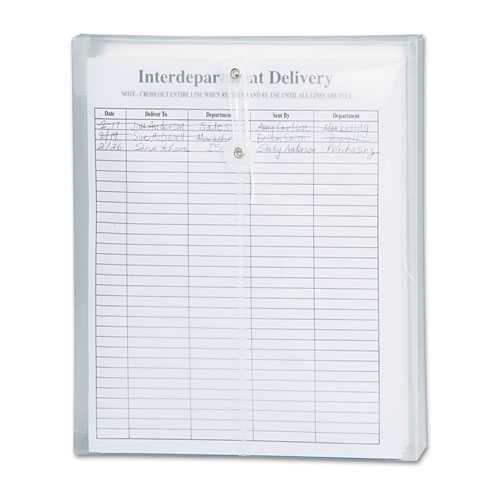 Poly String & Button Interoffice Envelopes, String & Button Closure, 9.75 x 11.63, Clear, 5/Pack | by Plexsupply