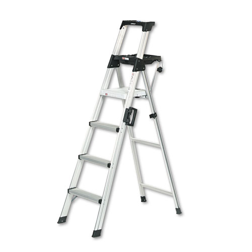 Signature Series Aluminum Step Ladder, 6 ft Working Height, 300 lbs Capacity, 4 Step, Aluminum | by Plexsupply
