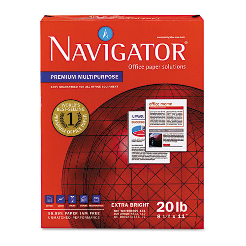 Navigator® Premium Multipurpose Copy Paper, 97 Bright, 20lb, 8.5 x 11, White, 500 Sheets/Ream, 10 Reams/Carton