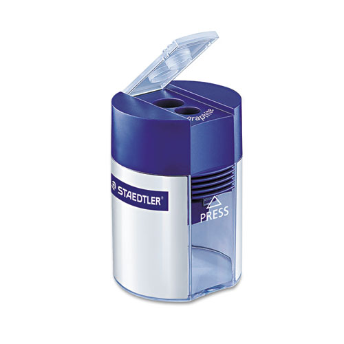 Cylinder Handheld Pencil Sharpener, Two-Hole, 2.25 x 1.63 x 1.63, Blue/Silver