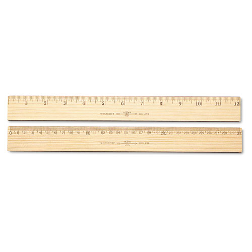 "Wood Ruler, Metric and 1/16"" Scale with Single Metal Edge, 30 cm 