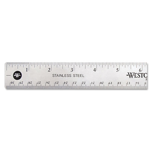 Stainless Steel Office Ruler With Non Slip Cork Base, 12"