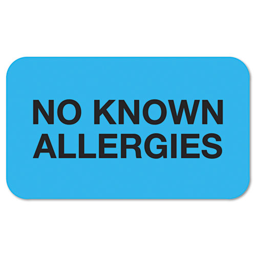 Medical Labels, NO KNOWN ALLERGIES, 0.88 x 1.5, Light Blue, 250/Roll TAB01510
