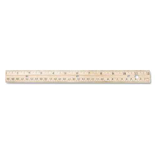 Hole Punched Wood Ruler English and Metric With Metal Edge, 12"