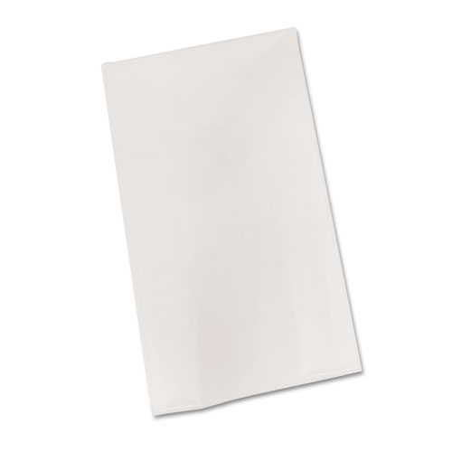 Bio-Degradable Plastic Table Cover, 54 x 108, White, 6/Pack