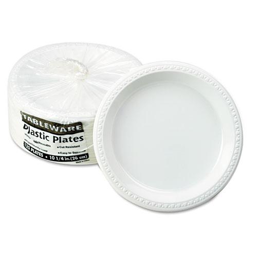 "Plastic Dinnerware, Plates, 10 1/4"" dia, White, 125/Pack | by Plexsupply"