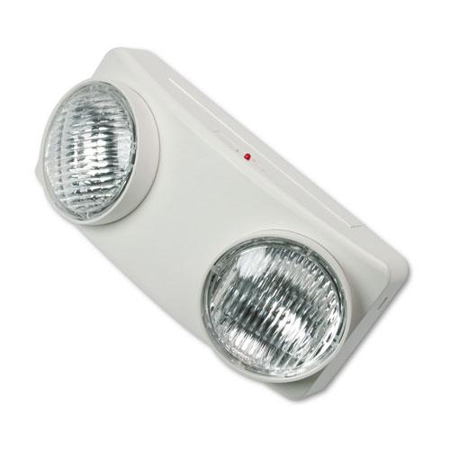 "Swivel Head Twin Beam Emergency Lighting Unit, 12.75""w x 4""d x 5.5""h, White | by Plexsupply"