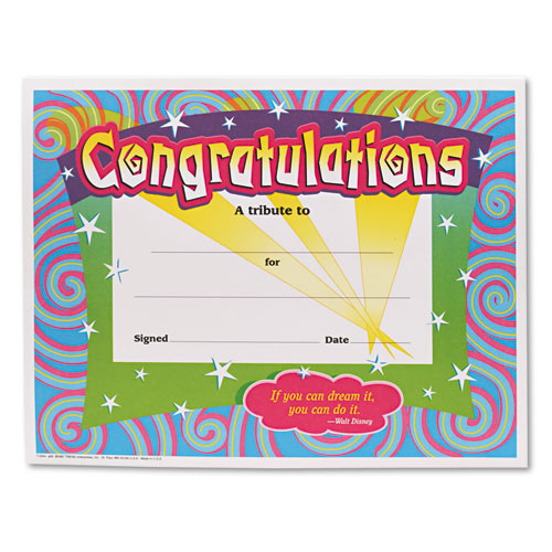 Congratulations Certificates, 8-1/2 x 11, White Border, 30/Pack | by Plexsupply