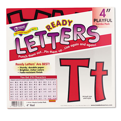 "Ready Letters Playful Combo Set, Red, 4""h, 216/Set 