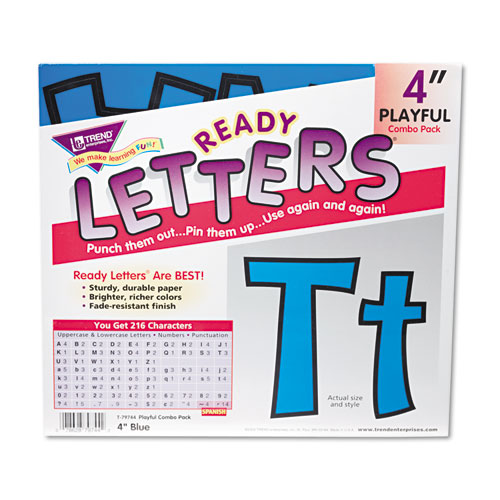 "Ready Letters Playful Combo Set, Blue, 4""h, 216/Set 