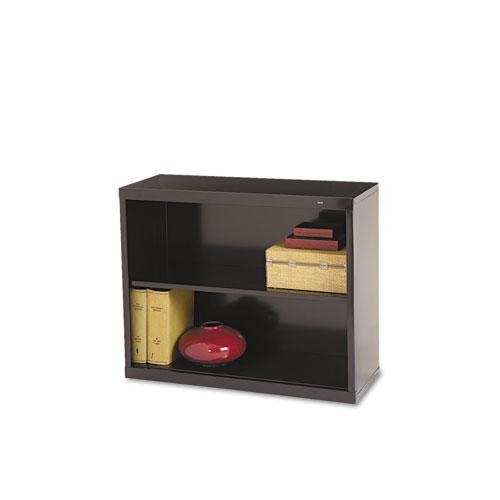 Metal Bookcase, Two-Shelf, 34-1/2w x 13-1/2d x 28h, Black | by Plexsupply