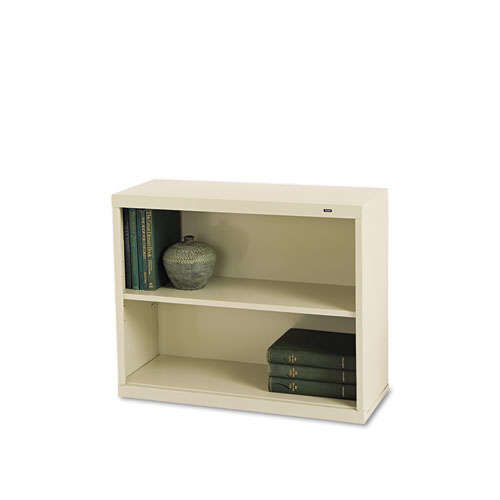 Metal Bookcase, Two-Shelf, 34-1/2w x 13-1/2d x 28h, Putty | by Plexsupply