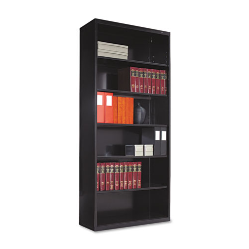 Metal Bookcase, Six-Shelf, 34-1/2w x 13-1/2d x 78h, Black | by Plexsupply