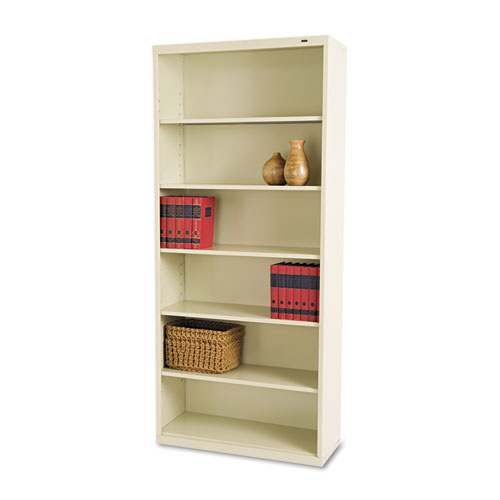 Metal Bookcase, Six-Shelf, 34-1/2w x 13-1/2h x 78h, Putty | by Plexsupply