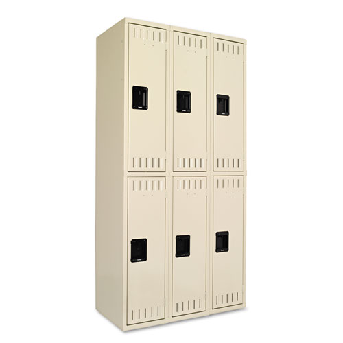Double Tier Locker, Triple Stack, 36w x 18d x 72h, Sand | by Plexsupply