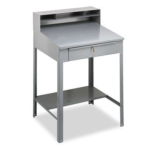 Open Steel Shop Desk, 34.5w x 29d x 53.75h, Medium Gray | by Plexsupply