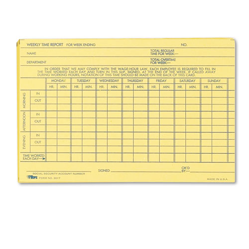 Employee Time Report Card, Weekly, 6 x 4, 100/Pack | by Plexsupply