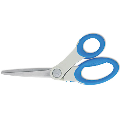 Scissors with Antimicrobial Protection, 8 Long, 3.5 Cut Length, Blue Offset Handle