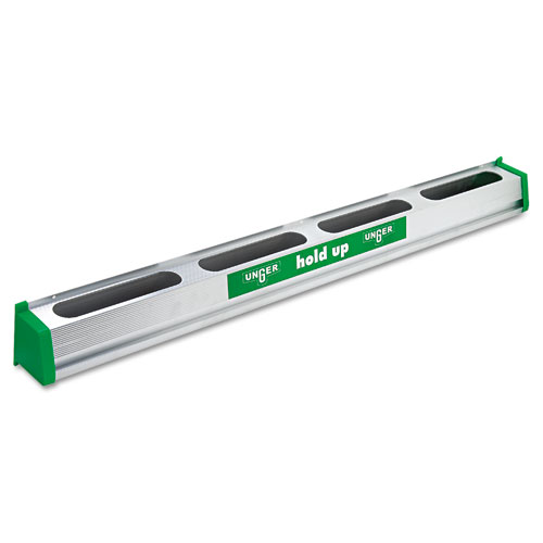 Hold Up Aluminum Tool Rack, 36w x 3.5d x 3.5h, Aluminum/Green | by Plexsupply