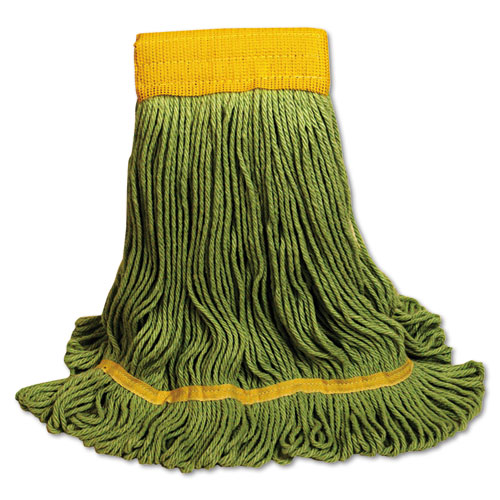 EcoMop Looped-End Mop Head, Recycled Fibers, Large Size, Green, 12/Carton | by Plexsupply