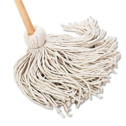 Deck Mop, 54 Wooden Handle, 20oz Cotton Fiber Head, 6/Carton