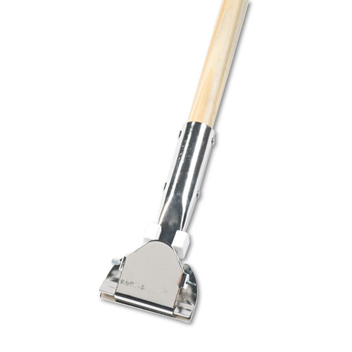 Clip-On Dust Mop Handle, Lacquered Wood, Swivel Head, 1 Dia. x 60in Long