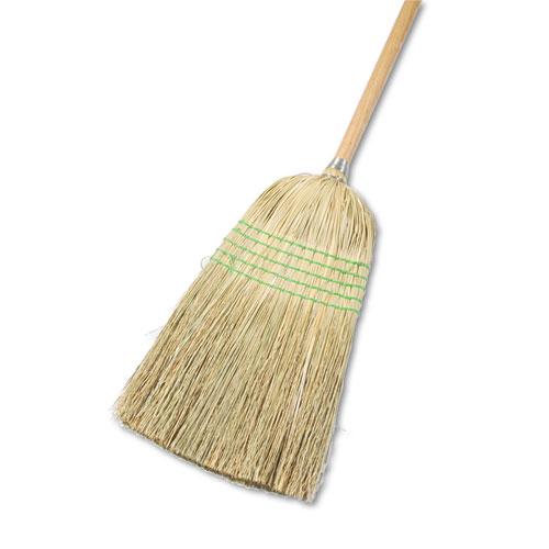 "Parlor Broom, Yucca/Corn Fiber Bristles, 56"", Wood Handle, Natural, 12/Carton | by Plexsupply"