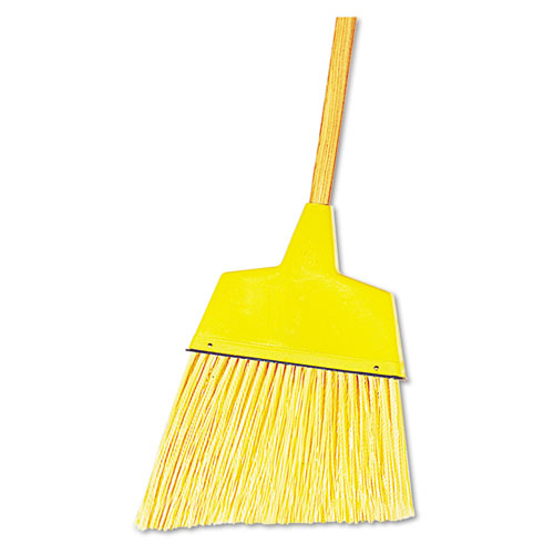 "Angler Broom, Plastic Bristles, 53"" Wood Handle, Yellow, 12/Carton 