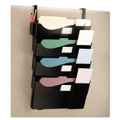 Grande Central Filing System, Four Pocket, Partition Mount, Plastic, Black