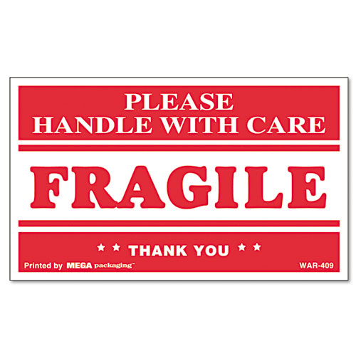 Printed Message Self-Adhesive Shipping Labels, FRAGILE Handle with Care, 3 x 5, Red/Clear, 500/Roll