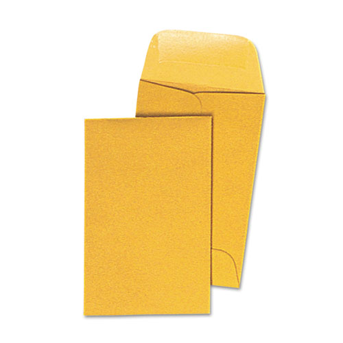 Kraft Coin Envelope, #1, Round Flap, Gummed Closure, 2.25 x 3.5, Light Brown Kraft, 500/Box | by Plexsupply