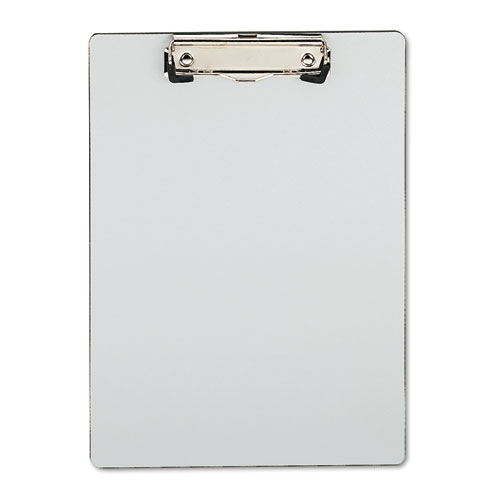 Plastic Brushed Aluminum Clipboard, Portrait, 1/2 Capacity, 8 1/2 x 11