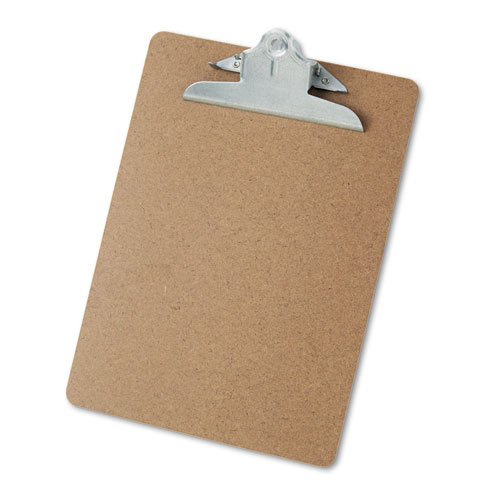 "Hardboard Clipboard, 1"" Capacity, Holds 8 1/2 x 11, Brown 