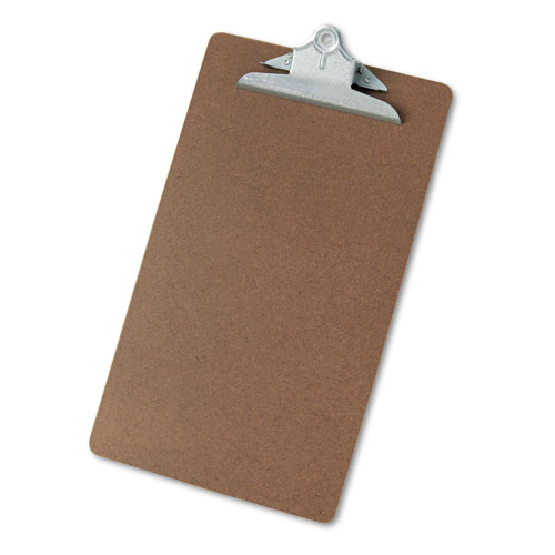 Hardboard Clipboard, 1'' Capacity, Holds 8 1/2 x 14, Brown