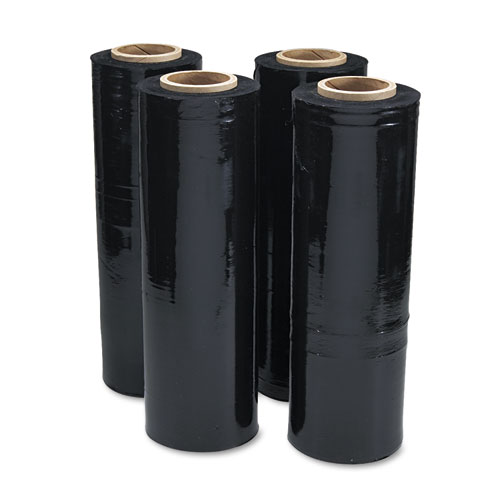 Black Stretch Film, 18 x 1, 500ft Roll, 20mic (80-Gauge), 4/Carton
