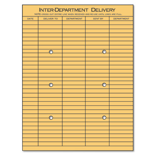 String and Button Interoffice Envelope, 97, Two-Sided Five-Column Format, 10 x 13, Light Brown Kraft, 100/Box