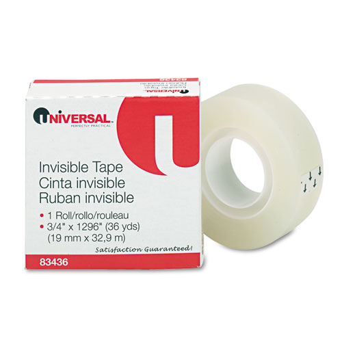 Invisible Tape, 1 Core, 0.75 x 36 yds, Clear