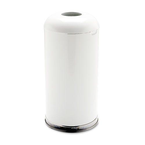 Fire-Resistant Open Top Receptacle, Round, Steel, 15 gal, White | by Plexsupply