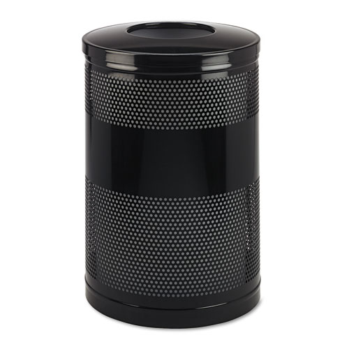Rubbermaid® Commercial Classics Perforated Open Top Receptacle, Round, Steel, 25 gal, Black