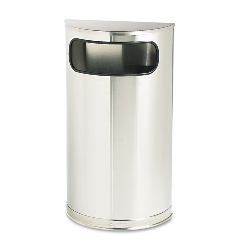 European and Metallic Series Receptacle, Half-Round, 9 gal, Satin Stainless | by Plexsupply