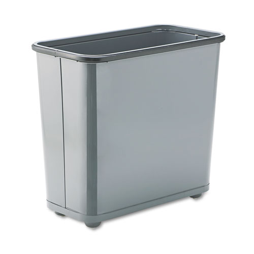 Rubbermaid® Commercial Fire-Safe Wastebasket, Rectangular, Steel, 7.5 gal, Gray