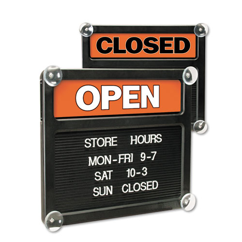 Double-Sided Open/Closed Sign w/Plastic Push Characters, 14 3/8 x 12 3/8 | by Plexsupply